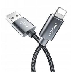 KABEL USB LIGHTNING DO APPLE IPHONE IPOD IPAD ROCK 100CM SZARY