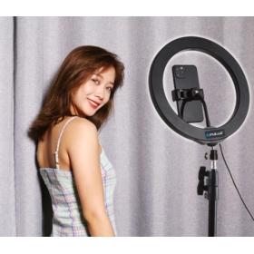 LAMPA PIERŚCIENIOWA LED PULUZ 8W 1.1M ZE STATYWEM I UCHWYTEM NA TELEFON - Akcesoria fotograficzne