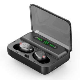 SŁUCHAWKI BEZPRZEWODOWE F9 TWS BLUETOOTH 5.0 DOUSZNE Z POWERBANKIEM CZARNE - Słuchawki