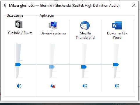 """Program """"Mikser głośności"""" z systemu Windows. Widoczne urządzenia głośniki oraz aplikacje dźwięki systemu, Mozilla Thunderbird i Word"""