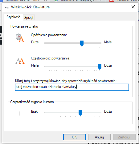 OInne litery na klawiaturze - kno dialogowe z systemy Windows - Właściwości klawiatury. Zakładka szybkość z suwakami