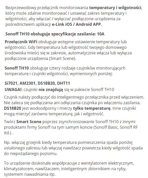 Sonoff TH10 włącznik wifi przełącznik